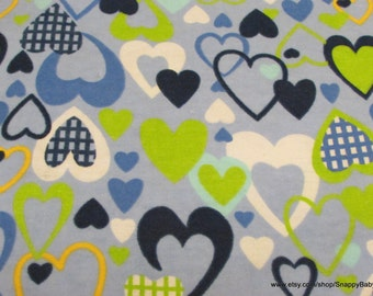 Flannel Fabric - All My Love Blue  - 1 yard - 100% Cotton Flannel