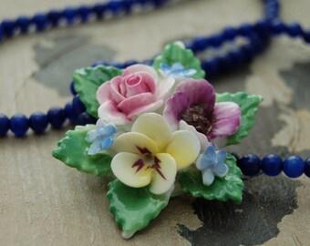 Vintage porcelain flower necklace