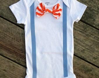 Orange Chevron Suspender Onesie, Baby Boy Bowtie, Florida Gators, Onesie Bow Ties, Boise State, Illinios, Toddler Boy Bowties