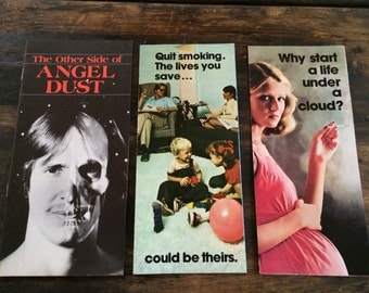 Vintage Anti Smoking & Anti Angel Dust Pamphlets / Drugs / Cigarettes / American Cancer Society
