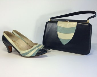 ON SALE Vintage 1950s 50s Martinique Custom Made Heels Shoes Pumps Navy Matching Purse Handbag Set