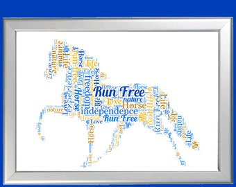 Personalised Framed Horse Word Art Cloud - Perfect gift for horse owners, lovers and Equetrians
