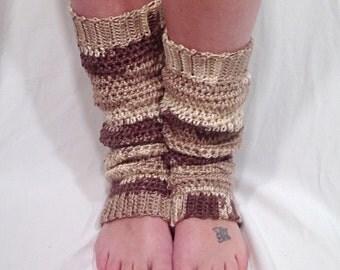 Cafe au Lait Ombre Crochet Leg Warmer