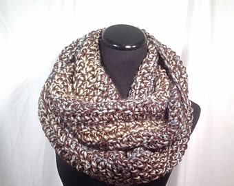 Crochet Infinity Scarf in Brown, Blue, and Green Tweed