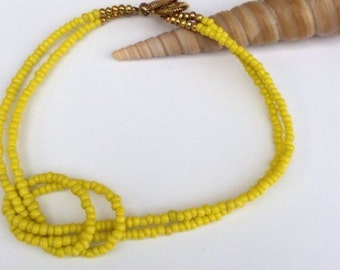 Bright Yellow Beach Anklet.
