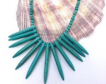 Tribal Howlite Turquoise  Necklace. Available in Red, Blue or White.