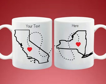 State or Country Long Distance Mugs - Going Away Gift, Long Distance Boyfriend Gift, Going Away Present - Complete Customization