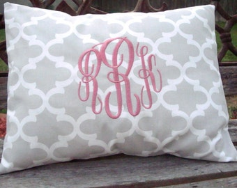 Monogram Pillow. Lumbar Pillow. Pillow Cover.