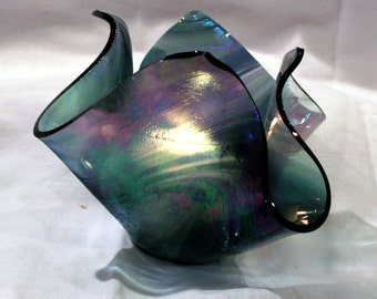 Iridescent black/green fused glass candle holder