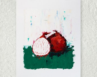 Red Onion Oil Painting, Vegetable Art, Gift for Her, Colorful Wall Art, Kitchen Decor, Unframed Artwork, Impasto Painting, Still Life