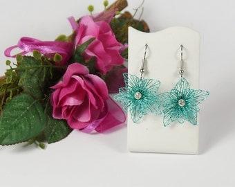 filigree wire earrings, earrings, turquoise jewelry from wire, lace jewelry, Wire jewelry art