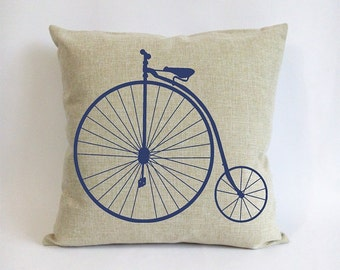 penny farthing bicycle pillow, 18x18 burlap throw pillow covers, outdoor linen cushion, black bike pillowcase, navy blue cushion slipcover