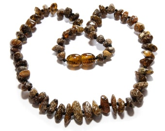 Genuine Baltic Amber Baby Teething Necklace Grey Green 31 - 33 cm Authentic RBN20