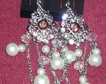 Austrian crystal beaded dangle wired earrings