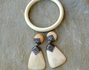Faux Bone Earrings and Bracelet Vintage Set