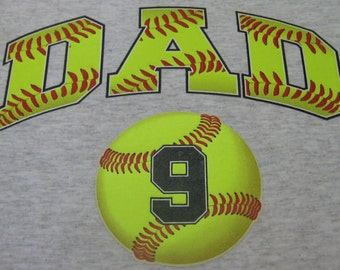 Baseball Dad Shirt/ Baseball Dad/ Custom Personalized Baseball Dad TShirt Add Player's Number Up To 4 Balls/ Lots of Colors!