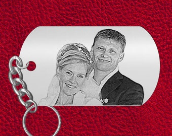 BEST Sweetheart Gift, Laser Engraved Photo Keychain, Personalized on back, Custom Picture! Perfect Christmas Gift, Use your Selfie