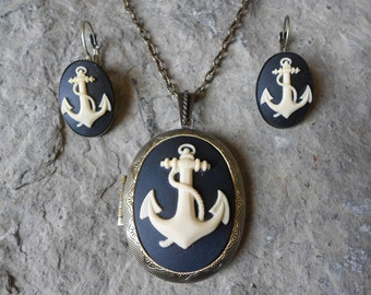 "Set - Anchor Cameo Bronze Locket and French Lever Back Earrings Set--  2"" long---.925 plated 22"" Chain--- Great Quality"