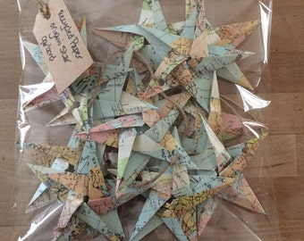 Origami - recycled paper star garlands
