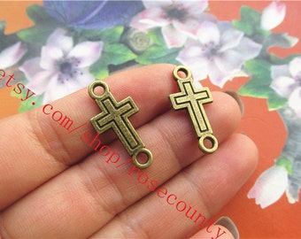wholesale 100pcs 24x12mm Antiqued bronze CROSS charms  connector findings