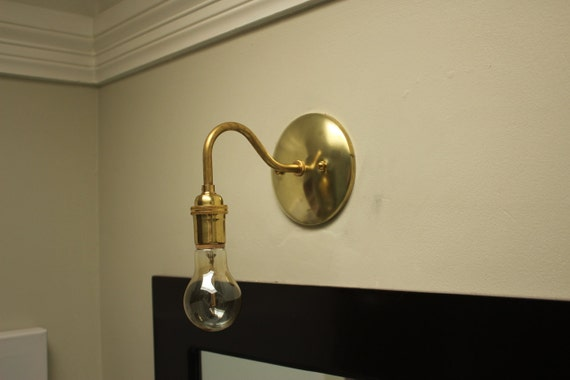 Vanity Lights With Plug : Wall Sconce Vanity Gold Brass Mid Century by IlluminateVintage