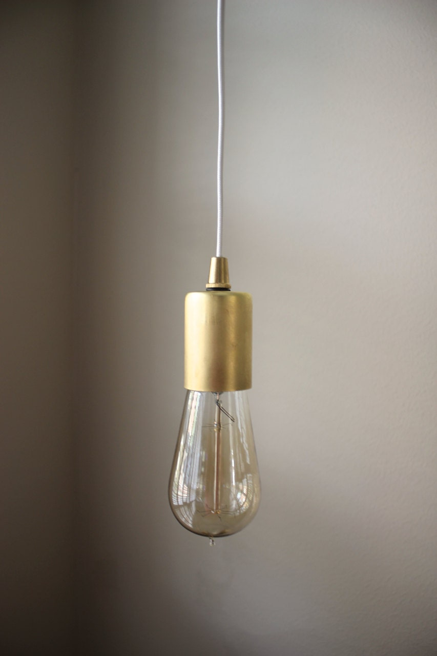 gold industrial plug in pendant light bare bulb socket brass edison bulb canopy rayon cloth covered black brown wire