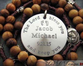 Personalized Gift for Godparents, Godparents gift for Baptism, Christening Rosary, Custom Catholic Rosary, Baptism Boy Gift. CG-1