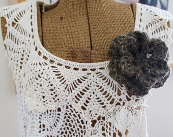 Chunky Double Layer 6 Petal Crochet Flower Brooch, Crochet Accessory, Shawl Pin, Little Rock Granite, Brown