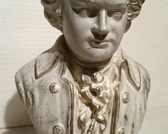 Gold Mozart Bust Plaster Statue - Art Vintage Inspired Hand Painted Sculpture Decor Classical Music Composer