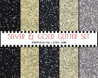 Gold Silver Glitter Digital Paper Background {Texture Pattern Overlay} for scrapbooking - Instant Download