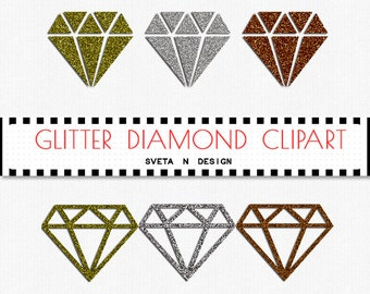 Glitter DIAMONDS Digital Clipart 6 psc PNG - Instant Download {glitter clipart, clip art, digital diamonds, diamonds clipart}