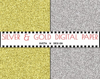 Glitter Digital Paper Silver and Gold Glitter Background {Texture, Overlay} - Instant Download