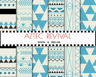 Aztec digital paper - aztec patterns, tribal backgrounds, blue, yellow, geometric, digital, triangles
