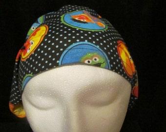 Sesame Street Friends Ernie Bert Big Birt Oscar Cookie Monster Euro Style Surgical Scrub Hat