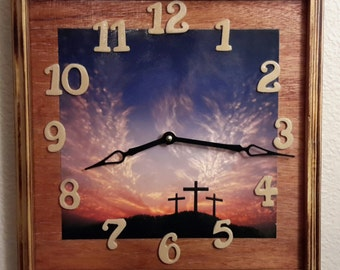 Handcrafted Calvary Clock   price reflects 20% discount