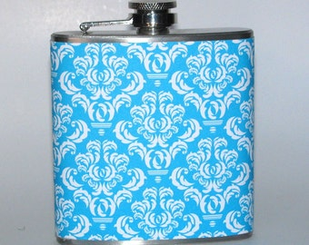 Turquoise Teal and White Damask  6 or 8 oz Size Stainless Steel Liquor Hip Flask Flasks Weddings Bridesmaids Gift Idea