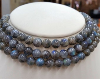 "A+ Natural Labradorite Round Beads Smooth 8mm&12mm, 16""L"
