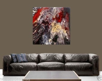 """New Original One of a kind Acrylic Abstract Fluid Painting 20"""" x 20"""" """"Tension"""""""