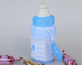 Baby Bottle Favor Box - Blue, Feeding Bottle Favor Box Printable for Baby Shower, Goodie Box, treat box