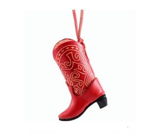 Leather Cowboy Boot Ornament /   Decoration /  Genuine Leather /  Red Western Boot