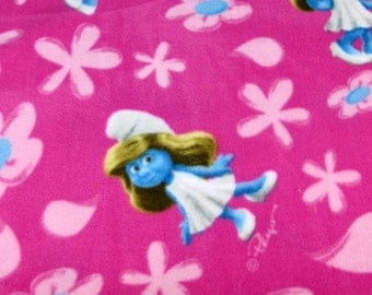 Per yard, FLEECE Smurfs Smurfette Fabric From Cranston