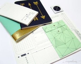 Stationery, notebook, notepad, memo pad, journal, envelope, pad, bundle, set, tag, office supplies - Mint & Black