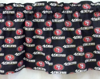 """San Francisco 49ers NFL Football Valance Curtain - Choose Lined or UnLined 40"""", 52"""" & 80"""" W x 13"""" L"""