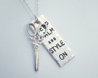 Keep calm and style on hair stylist hand stamped necklace pendant scissors hairstylist white brass silvertone