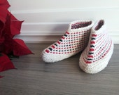 Knitted slippers, wool booties, hand knit slippers, cozy ankle socks, women's home shoes, white, red, black slippers. Winter sale! 20% OFF