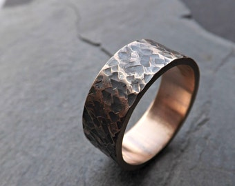 rustic bronze ring, rustic mens ring bronze, square hammered pattern, structured ring bronze wedding anniversary gift mens personalized ring