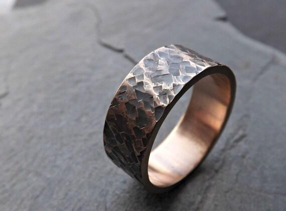 Rustic Bronze Ring Rustic Mens Ring Bronze Square Hammered