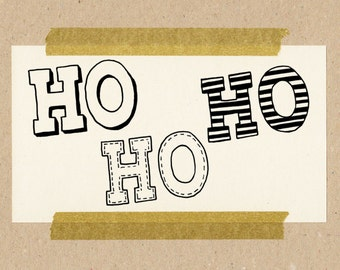 HO HO HO / Stempel-Set / 3 Stempel aus Naturkautschuk auf Buchenholz 3x3 cm