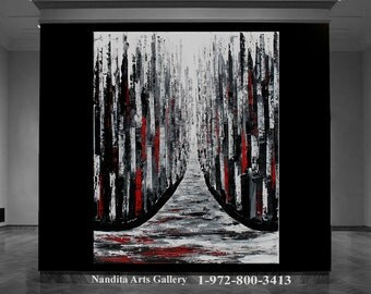 ABSTRACT OIL PAINTING Large Cityscape Art Black and Red Modern Textured Skyline Oil Painting Huge Canvas Wall Art Decor by Nandita Albright