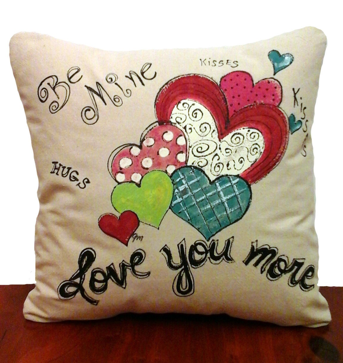Decorative Love Pillow : Decorative Pillow Cover Hand-painted Be Mine Heart Love